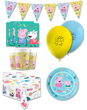 Decoración cumpleaños premium Peppa Pig 8 personas