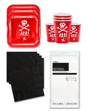 Czerwone Dekoracje imprezowe Piraci na 12 osób - Pirates Party