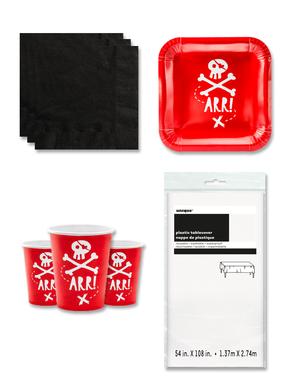 Czerwone Dekoracje imprezowe Piraci na 6 osób - Pirates Party
