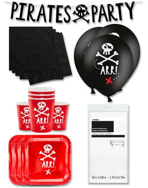 Czerwone Dekoracje imprezowe Premium Piraci na 12 osób - Pirates Party