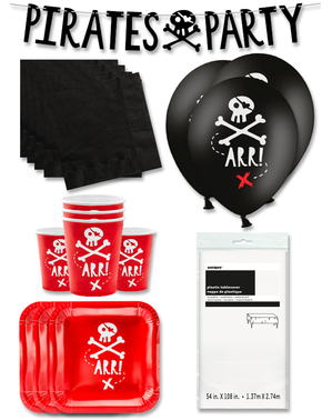 Premium Red Pirate Party Decorations for 12 People - Pirates Party