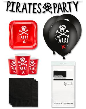 Czerwone Dekoracje imprezowe Premium Piraci na 6 osób - Pirates Party