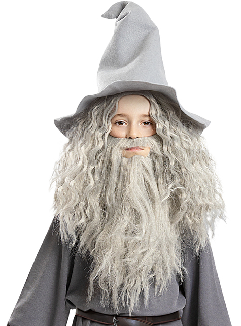 Peluca de Gandalf con barba para niños - El Señor de los Anillos