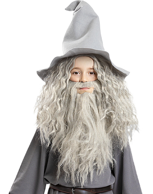 Perruque de Gandalf avec barbe enfant- Le Seigneur des Anneaux