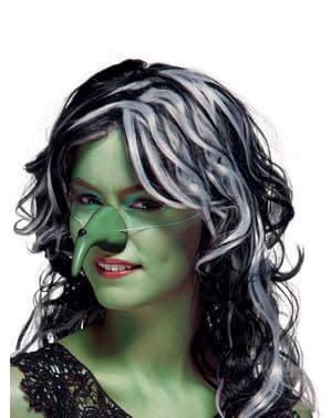 Grüne Hexennase mit Warze für Damen