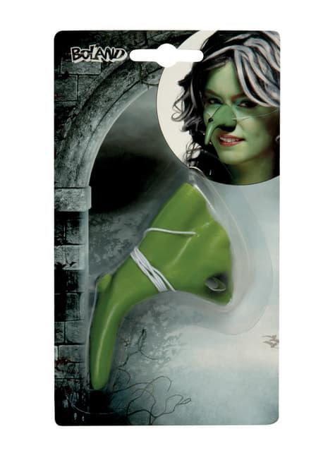 Nariz de bruja verde con verruga para mujer - para tu disfraz