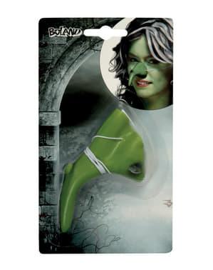Nariz de bruxa verde com verruga para mulher