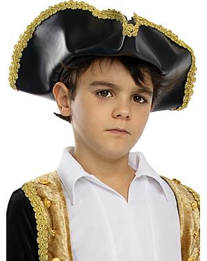 Černý klobouk v koloniálním stylu pro děti