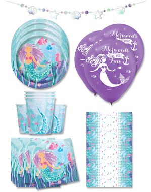 Meerjungfrauen Party Deko Premium 16 Personen - Sirene unter dem Meer