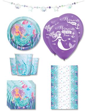 Meerjungfrauen Party Deko Premium 8 Personen - Sirene unter dem Meer