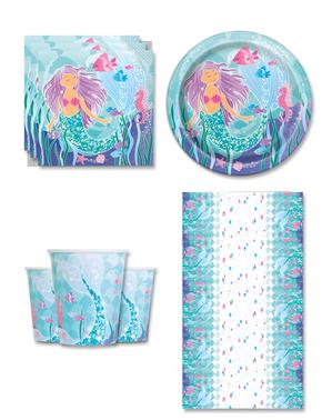 Havfrue Festdekorasjoner for 8 Personer - Sirena bajo del mar