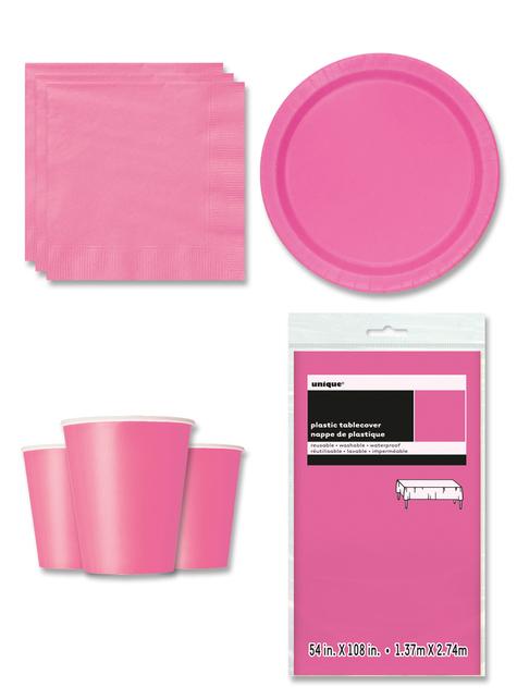 Decoración de fiesta rosa 8 personas - Línea Colores Básicos