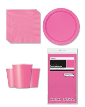 Decoração de festa rosa 8 pessoas - Linha Cores Básicas