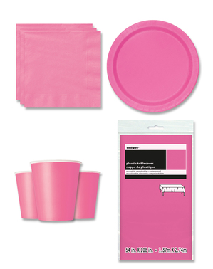 Partydeko rosa 8 Personen - Basicfarben Collection