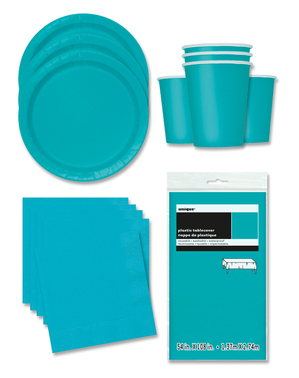 Aquamarine Party Decorations for 16 People - Basic Colours Line