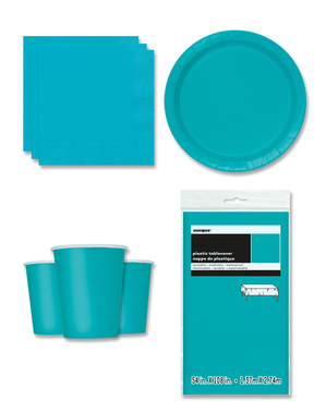 Aquamarine Party Decorations for 8 People - Basic Colours Line