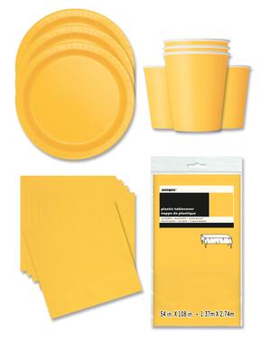 Żółte Dekoracje imprezowe na 16 osób - Linia Kolorów Podstawowych