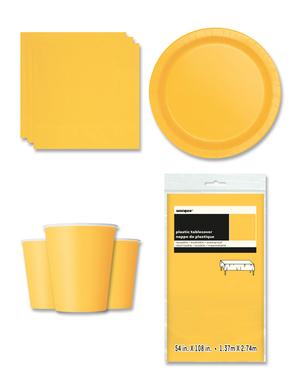 Decoración fiesta amarilla 8 personas- Línea Colores Básicos