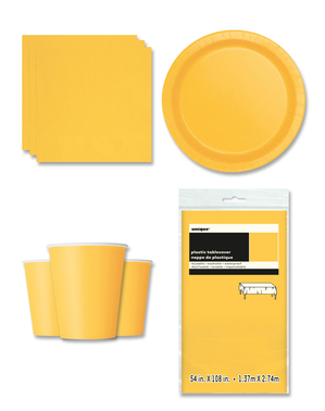 Yellow Party Decorations for 8 People - Basic Colours Line