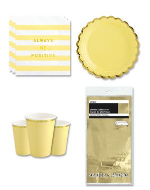 Keltaiset juhlakoristeet 8 hengelle - Yummy