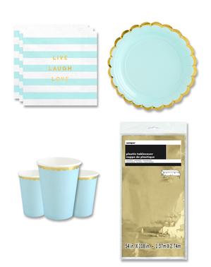 Décoration fête bleu Pastel 8 personnes - Yummy