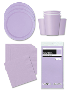 Lilac Party Decorations for 16 People - Basic Colours Line
