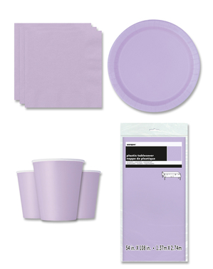 Lilac Party Decorations for 8 People - Basic Colours Line