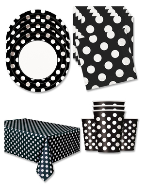 Black Polka Dot Party Decorations for 16 People