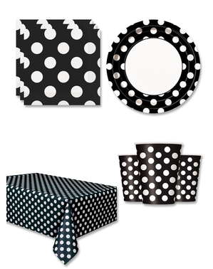 Black Polka Dot Party Decorations for 8 People