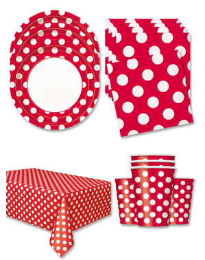 Red Polka Dot Party Decorations for 16 People