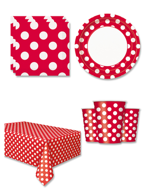 Red Polka Dot Party Decorations for 8 People
