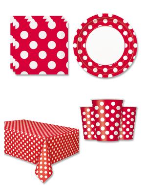Røde Polka Prik Festdekorationer til 8 personer