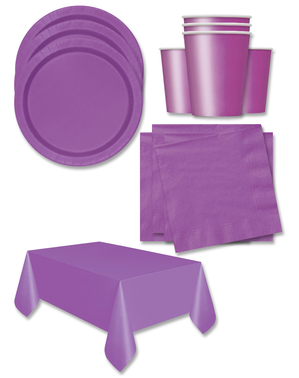 Purple Party Decorations for 16 People - Basic Colours Line