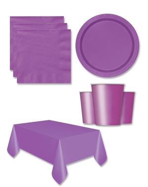 Paarse Feestdecoraties voor 8 personen - Basic Colours Line