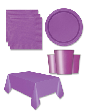Purple Party Decorations for 8 People - Basic Colours Line