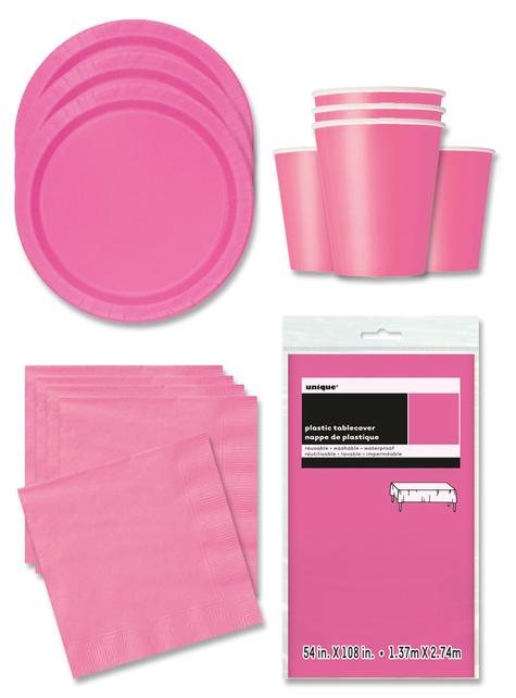 Decoración fiesta rosa claro 16 personas- Línea Colores Básicos