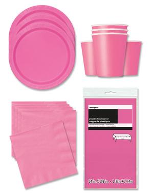 Decorațiune de petrecere roz deschis 16 persoane - Linia de culori de bază