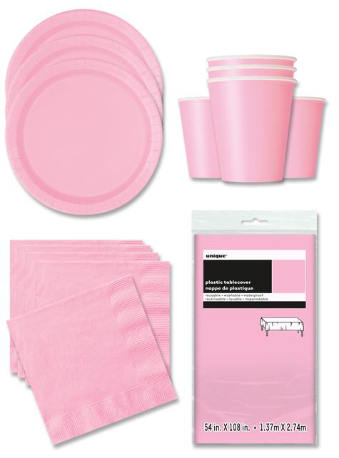 Decoración fiesta rosa 16 personas- Línea Colores Básicos