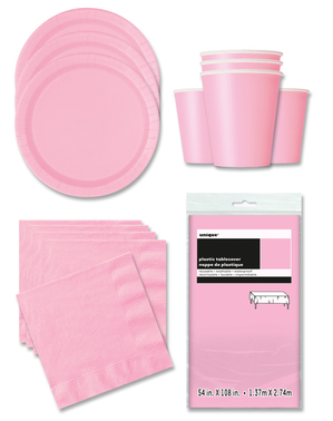 Pink Party Decorations for 16 People - Basic Colours Line