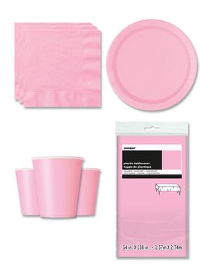 Decorazioni festa rosa 8 persone - Linea Colori Basici