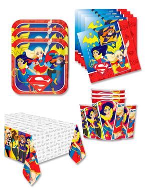 DC Superhelte Piger Fødselsdagsdekorationer til 16 personer