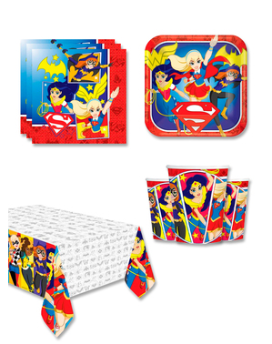 DC Superhelte Piger Fødselsdagsdekorationer til 8 personer