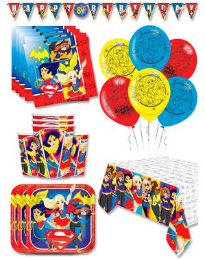 Premium DC Superhelte Piger Fødselsdagsdekorationer til 16 personer