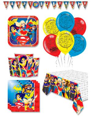 Prémiové dievčenské narodeninové dekorácie DC Super Hero pre 8 osôb