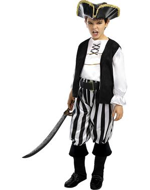 Piraten Kostüm gestreift für Jungen - Schwarz und Weiß Kollektion