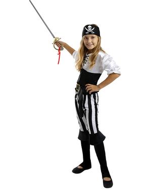 Stribet Pirat Kostume til Piger - Sort / Hvid Samling