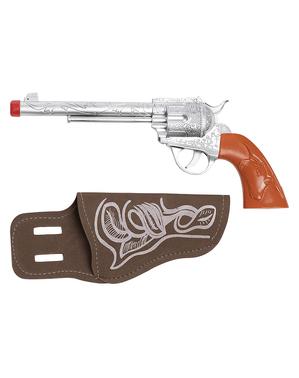 Revolver de cowboy com coldre