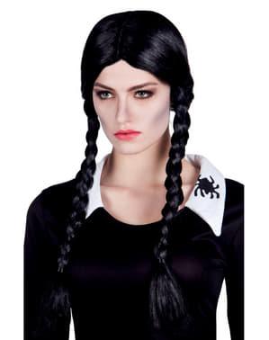 Peruk Mörk tjej med flätor dam