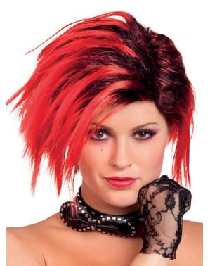 Punk Perücke rot für Damen