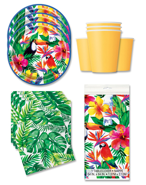 Tropical Party Decorations for 16 People - Palm Tropical Luau